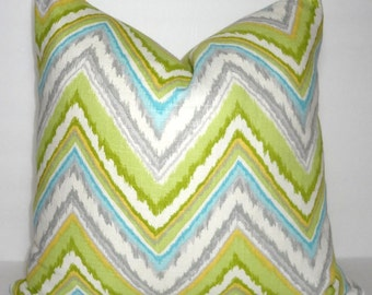 Dena Design Chevron Pillow Cover Lime Green Grey Blue Yellow Zig Zag Throw Pillow Cover 18x18
