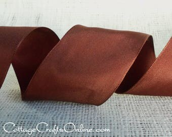 "Wired Ribbon, 2 1/2"" Chocolate Brown Taffeta - FIFTEEN YARD ROLL - Offray ""Revogue Chocolate"" Fall, Thanksgiving, Wedding Wire Edged Ribbon"