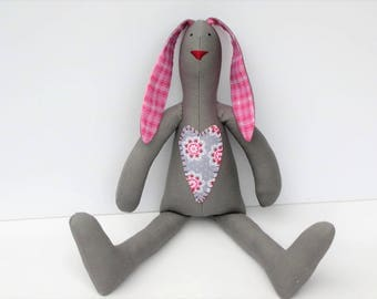 Stuffed bunny gray and pink Easter bunny rabbit hare softie plush bunny doll stuffed toy baby shower nursery decor gift for boy girl