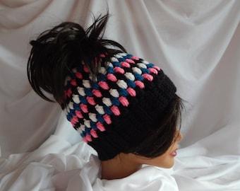 Messy Bun Hat Pony Tail Hat - Crochet Woman's Fashion Hat - Hot Pink, Black, Teal