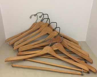"""8 Vintage Clothes Suit Hangers with Pants Bars 16 1/4"""" to 17 1/4"""""""