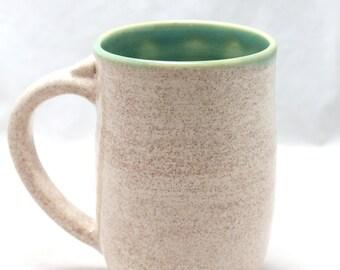 14 oz Blue Green Vanilla Bean Ceramic Mug Pottery Mug in speckled white and  translucent blue green