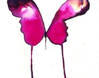 "magenta  butterfly 8 X 10"" original watercolour painting"