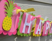 Pineapple Happy Birthday Personalized Party Banner - Party Decorations - Party Supplies - Party Decor - Party Garland - Yellow, Green, Pink