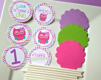 Owl Birthday Party Personalized DIY Cupcake Topper Kit - Owl Party Decorations - Owl Party Supplies - Owl Cupcake Toppers - Set of 12