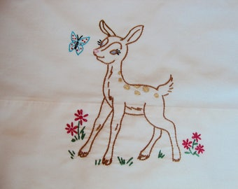Bambi Pillowcase Vintage Soft White Pillow Slip Fawn Embroidery Bed Linens Child