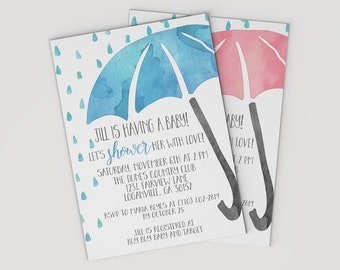 Watercolor Baby Shower Invitations - Baby Sprinkle - Watercolor Umbrella - Invitations Online - Girl Baby Shower - Boy Baby Shower Ideas