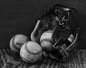 Vintage Baseballs & Glove Photograph Man Room Decor Boys Room Decor Sports Art Sports Photos Wall decor Baby Boy Decor Black White Photo