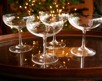Champagne glasses, Monogram D, Ultra thin coupe champagne glasses, set of four