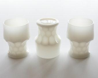 Georgian tumblers milk glass, Anchor Hocking glasses