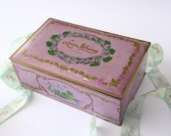 Vintage Candy tin, Louis Sherry, Lavender spring decor box, vintage storage tin