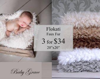 Faux Flokati Fur, Newborn Photography Props, Faux Fur Fabric, Newborn, Faux Fur Set, 3 Basket Fillers, Newborn Photo Prop, Faux Fur Blanket