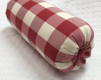 Red Check lumbar accent throw lumbar bolster pillow