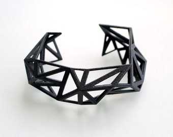 3d printed Triangulated Cuff bracelet in Black - Glossy Finish. modern statement jewelry. geometric jewelry