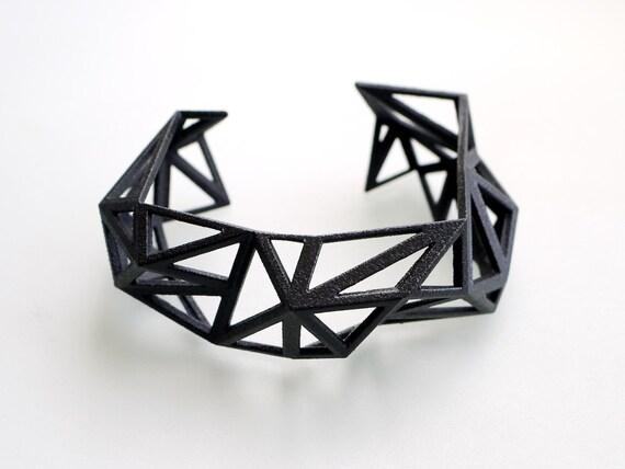 3d printed Triangulated Cuff bracelet in Black - Glossy Finish. modern statement jewelry. geometric jewelry