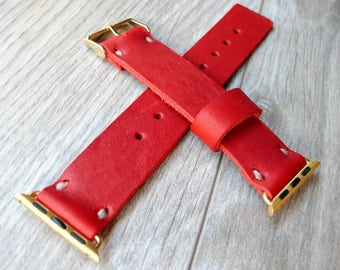 Red Leather Apple Watch band 42mm leather watch band, Apple watch strap, iwatch band, apple watch leather band, red apple watch strap