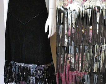Vintage 1980s Roberto Cavalli Black Suede Skirt with Hand Painted Fringe Waist 26