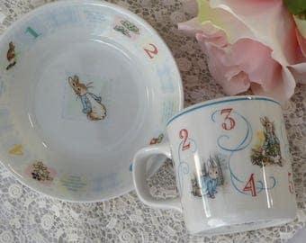 Vintage Wedgwood Beatrix Potter Peter Rabbit China Numbers Learning, Peter Rabbit Learning Dishes, Wedgwood Child's Numbers China Bowl & Mug