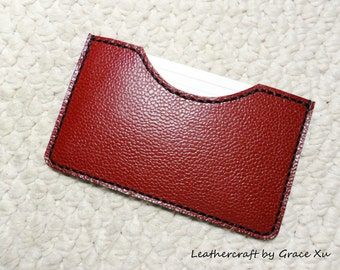 "100% hand stitched handmade dark red cowhide leather 3"" x 5"" index cards holder / case"