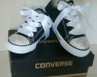 Crystal Converse Black Shoes For Little Girls
