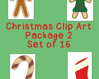 Christmas Decoration Clip Art Bundle 2 PNG JPG Blackline Commercial or Personal, Hand Drawn, Instant Download, Candy Cane Stocking