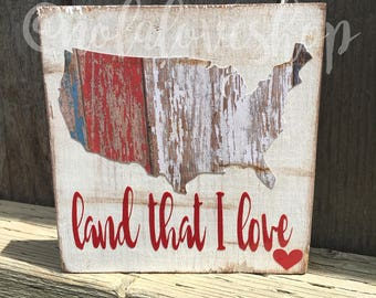 Land that I love fourth of july wood sign| Memorial Day wood sign| patriotic wood sign| Fourth of July sign| Fourth of july decor| americana
