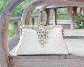 Bridal Ivory Lace Clutch / Rustic Vintage inspired / Elegant wedding clutch /wedding bag / Bridal clutch purse
