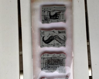 Stampers Anonymous Ringmaster  stamp set by Tim Holtz, cling stamp set of 4 stamps, for art journaling, card making, mixed media, scrapbook