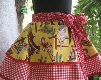 Cowgirl Pinup Retro Half Apron From the Hip