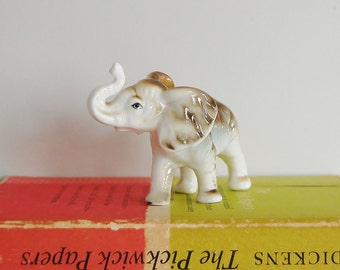 Vintage Elephant Figurine, Bone China Elephant Taiwan