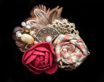 Burgundy Steampunk Wedding Fascinator- Steampunk Hair Clip- Feather Hair Clip- Feather Fascinator- STeampunk Costume- Steam Punk