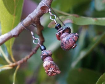 Brown Speckled Agate Earrings