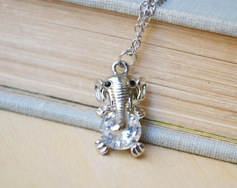 Delicate Silver Elephant Crystal Necklace