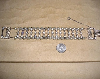 Vintage Clear Rhinestones And Faux Pearls Baguette Bracelet 1940's Jewelry 3005