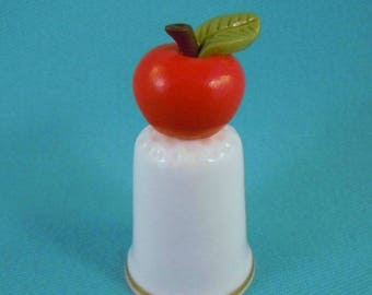 Polymer Clay Hand Sculpted APPLE on Bone China Porcelain Thimble