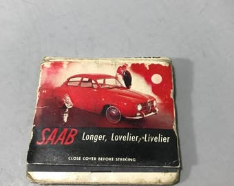 Vintage 1965 The New Saab Matchbook Cover with Matches