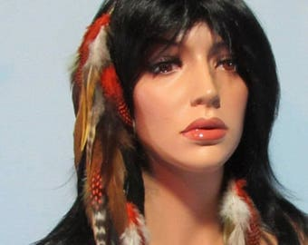 Feather Hair Extension Earring Brown Black Orange Turquoise