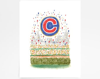 Cubs Win (CUSTOM-NO DATE)- Limited Edition Art Print - 8x10