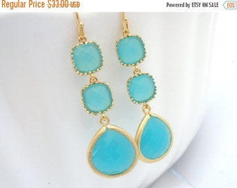 SALE Aqua Blue Earrings, Mint Earrings, Aquamarine, Long Gold Earrings, Bridesmaid Jewelry, Bridesmaid Earrings, Bridal Jewelry, Bridesmaid