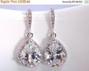 SALE Wedding Jewelry, Bridal Earrings, Cubic Zirconia, Glass, Crystal Earrings, Silver, Bridesmaid Earrings, Bride Earrings, Bridesmaid Gift