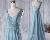2016 Long Dusty Blue Bridesmaid Dress, V Neck Chiffon Wedding Dress, Formal dress, Long Prom Dress, V Back Ball Dress Floor Length (H217A)