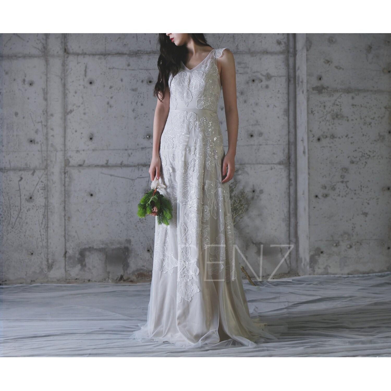 2017 f White Lace Wedding Dress Cream Cap Sleeves