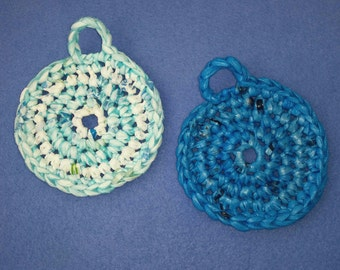 Two Plarn Dish Scrubbies, turquoise and aqua blue, recycled plastic bags