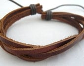 Bruin leren armband, jongens armbandje met handige schuifknoop