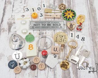 Found Objects, SUPPLIES, Destash, Junk, Harvest, Jewelry Making Supplies, Vintage Parts, Jewelry Lot, Destash Lot, Assemblage, Mixed Media