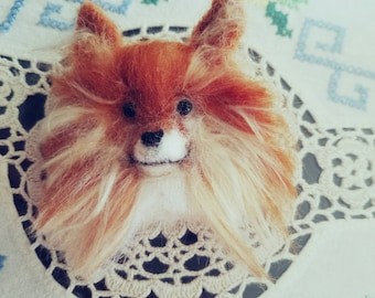 Needle Felted Pomeranian Pin with Long Hair made to order