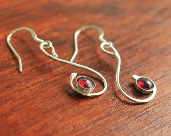 Garnet and Sterling Silver Earrings