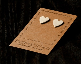 Creamy White: heart shaped leather earring, pair of leather heart stud earrings, handmade leather jewelry