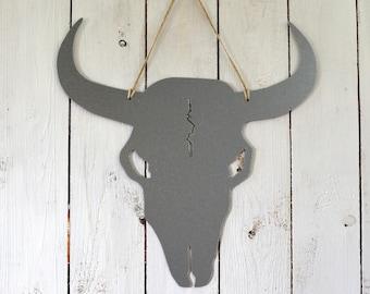 Galvanised steel magnetic board – Memo board - Bull skull shape - Longhorn