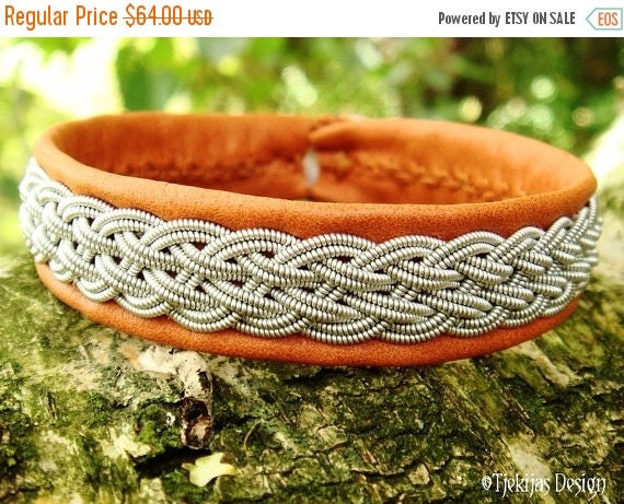 Viking Braid Swedish Sami Bracelet Cuff DVALIN Handcrafted in Bark tanned Reindeer Leather with spun Pewter Braid and Antler Button